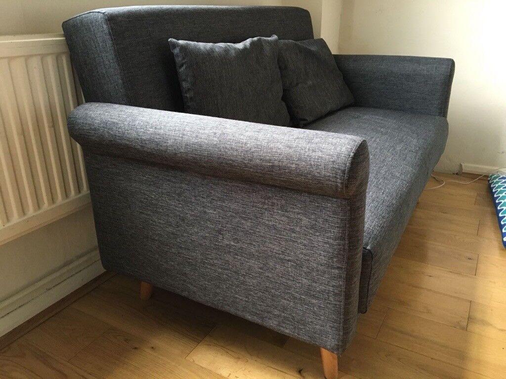 Compact Stylish 2 Seater Sofa - Charcoal Colour
