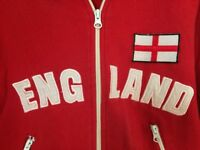VINTAGE WOMEN'S ENGLAND; SOCCER TRACKSUIT TOP RED SMALL