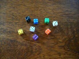 SET OF 8 MINI DICE D6 (7mm) opaque Plastic dice (Mixed Colours)- New - UK Seller