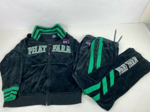 Phat Farm Kid's Velour Track Suit Black Lime Green Size Small (8)