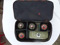 Set of Four Henselite Indoor Bowls Size 4 Heavy + Measure and Carry bag