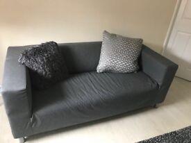 ikea grey sofa. silver legs