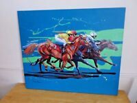 Fabulous genuine original painting 'Racing Opposition' by Louise Mizen