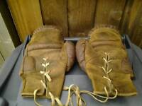 Original pair of vintage leather boxing gloves