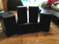 Mission Surround Sound System Sub and 4 Mission 700 Speakers