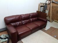 Sofa leather 3 seater in vgc