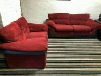 Dfs red fabric sofa set