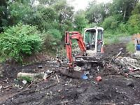 3 ton digger hire with driver for ground clearance, demolition, drainage also tree felling