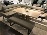 Upholstered L shaped seating set with table and bench by Barker & Stonehouse cost new £900+.