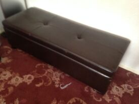 Brown quality storage leather trunk ottoman also works as a Seat