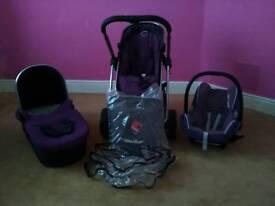 Icandy travel system purple & black