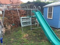 TP climbing frame with rope swing, slide and climbing net