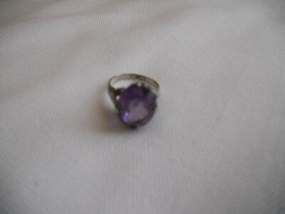 VINTAGE ART DECO SILVER AMETHYST RING SIZE 6