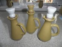Denby (ode design) 3 oil/ vinegar bottles