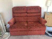 TWO SEATER SETTEE WITH MATCHING RECLINING CHAIR