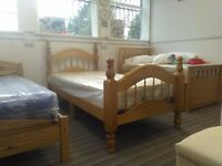 Solid Pine, Single Padova style bed frame, antique pine finish, 'KD' side rails, excellent condition