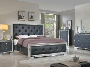 Black color bed set with glass work for $1799