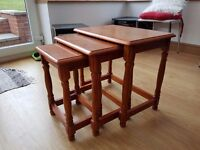 Set of 3 brown solid wood nest tables