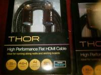 Gold plated, Thor high performance flat HDMI Cable x 2
