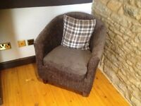 Velour Tub Chair With Free Cushion - like new, hardly ever sat on!