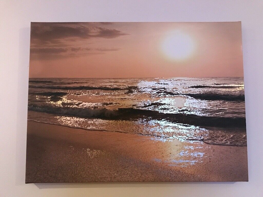 Gold effect sunset canvas from Next