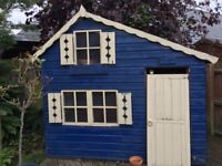 NOW SOLD. Children's Wooden Playhouse - blue