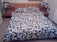 Ikea Malam Oak Double Bed Frame with Side Tables