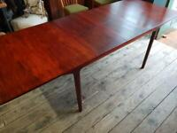 Mid Century McIntosh Rosewood Extending Two Leaf Dining Table