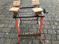 Folding portable workbench and vice