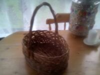 LOVELY WICKER BASKET,WITH HANDLE,STRONG AND STURDY,VERY GOOD CONDITION