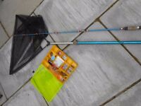 Ideal starter fishing rod, with fishing tackle and landing net.