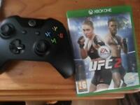 black Xbox one contoler and UFC 2 game included
