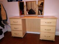 Pine dressing table on wheels with vanity mirror, good condition, £40