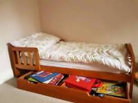Toddler Bed, mattress and underbed drawer