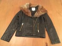 M&S girls leather jacket with detachable fur trim age 9-10