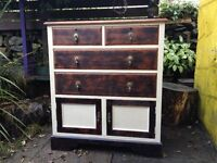 Upcycled solid wood cabinet with drawers and doors