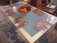 KITCHEN TABLE * DINING ROOM TABLE * FROSTED GLASS TOP * 140cm x 80cm * CLACTON ON SEA - CO15 6AJ