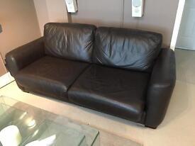 Brown Leather Sofa Bed (bed unused)