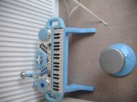 Blue kids Piano with stool