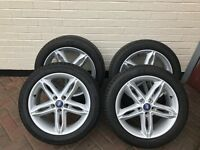 "GENUINE FORD FOCUS ALLOY WHEELS 5 TWIN SPOKE 17"" INCH SILVER ALLOY WHEELS WITH TYRES"