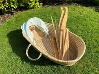 Wicker Mose Basket and wooden rocking frame (baby crib / bassinet)
