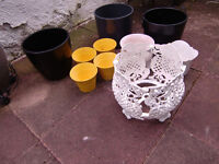 Collection of Large and Small Ceramic Plant Holders