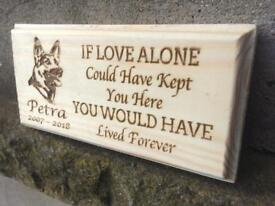 Personalised laser engraved solid softwood