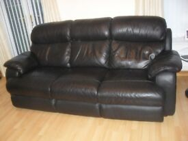 black leather3 seater sofa and one matching arm chair