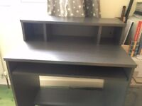 Computer desk, solidly-built, grey/black veneer, as new condition