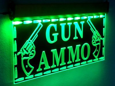 H016 Large Sale Gun Led Signs Ammo Neon Open Light Hunting Shop Firearms Cowboy