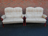 Two identical 2-seater leather sofas - Can deliver