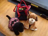 Build A Bear Pull / Wheel Along Carry Case Bag on Wheels Castors + 2 Noise Dogs