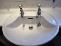 Bathroom Wash Basin oval with 2 x separate tap fixing