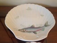 8 LIMOGES Decorated Porcelain Shell Shaped Fish Plates